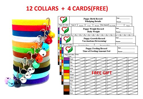 Puppy ID Collars Adjustable & Reusable Double Side Soft Fabric Pet Small Dog Kittens ID Bands Collar with Bells ,12 Colors (Puppy Id Bands)