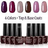 Gellen UV Gel Polish Kit 6 Colors + Base & Top Coats 8ml, Grace Colors Gel Manicure Set