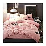 KFZ Bed Set 4pcs Cotton Bedding Duvet Cover No Comforter Fitted Bedsheet Pillowcases DL Queen Sweden Style Fashion Love Applique Solid Color (Sakura Pink, Queen, 79''x91''with Double Bed Fitted Sheet)