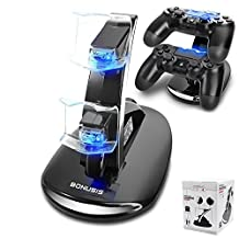 BONUSIS PS4 Controller Fast Charge Station -Dual USB Simultaneous Charger Dual Charging Dock Cradle Stand Accessory for Sony Playstation 4 Gaming Control with LED Indicator + Mini USB Cable (Black)