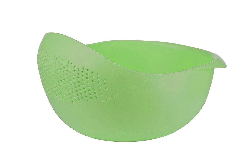 Colander Strainer Rice Washer Strainer, Multi-Function Bowl Colander for Vegetable, Bean, Fruit, Pasta (S,Green)