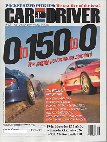 CAR AND DRIVER MAGAZINE AUGUST 1998
