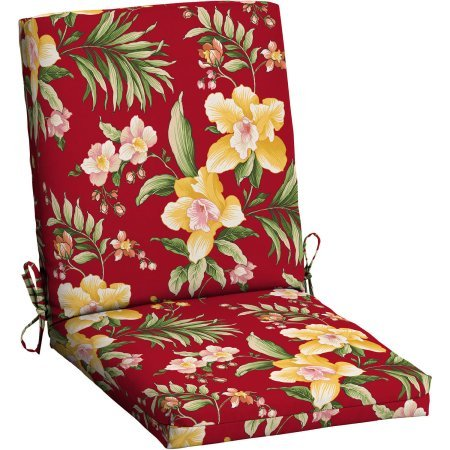 Mainstays Outdoor Patio Dining Chair Cushion (Red Tropical)