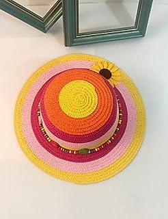 ZYT Donna Primavera/Autunno Estate Paglia Romantico Casual Motivo/Decorazione Cappelli Cappello da Sole,Arcobaleno, Rainbow, m