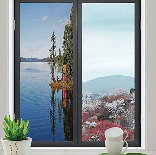 TecBillion Privacy Window Film Decorative,Lake House Decor,for Glass Non-Adhesive,Lakeside Photo with Calm Still Water and ()