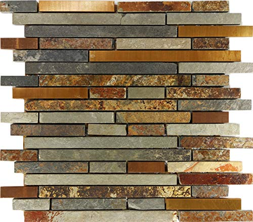 Thaisan7, Rustic Copper Linear Natural Slate Blend Mosaic Tile Kitchen Backsplash Sink (Size : 1 Sheet)