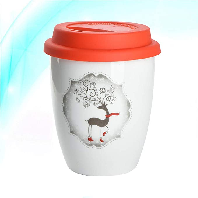 BESTONZON Taza de café de Navidad sin asa, taza de té con ...