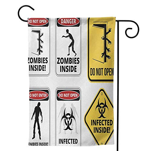 Mannwarehouse House Flag, Home Outdoor Decorative for Holiday Seasonal Zombie Warning Signs for Evil Creatures Paranormal Construction Design Do Not Open Artwork Multicolor (Lsu Zombie)