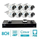 GW 8 Channel H.265 NVR 4-Megapixel (2592 x 1520) Security Camera System, 8pcs 4MP 1520p 3.6mm Wide Angle POE Outdoor Bullet IP Cameras, 80ft Night Vision Review