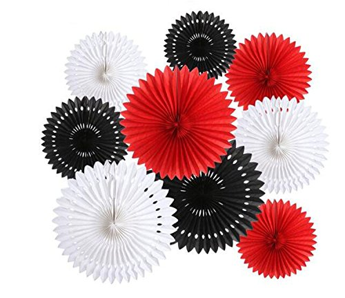 9PCS/Lot 8'' 12'' 16'' Black Red White Tissue Paper Fan Flower for Wedding Birthday Anniversary Party Christmas Girls Room Decoration Background Wall Decor Baby Shower Decor