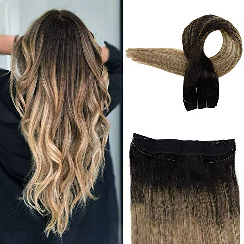 Easyouth Human Hair Extension Invisible Wire 14inch Colored 1B Off Black Fading to 8 Ash Brown Highlights with 22 70g Fishing Wire Hair Extensions