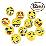 EMOJI Stress Ball 12 PCS Party Favor Balls (2.5'') Squeeze Toy to Release Stress (Yellow)