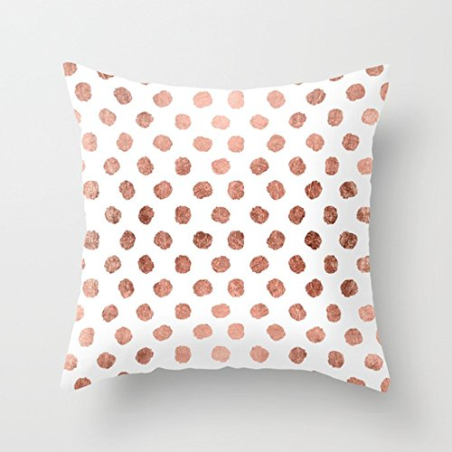 UOOPOO Print Stylish Rose Gold Polka Dots Brushstrokes Pattern Throw Pillow Case Square 18 x 18 Inches Soft Cotton Canvas Cushion Cover(Not Real Rose Gold Gillter, Just Print Pillow Cover) Polka Rose Square