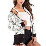 HHei_K Womens Trendy Lounge Slim Fit Floral Print Long Sleeve Zipper Up Loose Pockets Baseball Coat Jacket