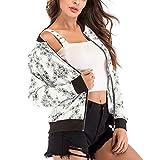 UONQD Women's Floral Print Blouse Baseball Coat Zipper V-neckline Jacket (Small,White)