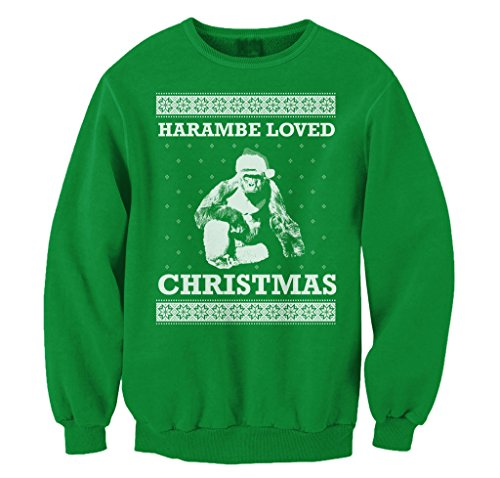 FreshRags Harambe Loved Christmas Ugly Sweater Funny Men's - Ugly Christmas Sweater Funny