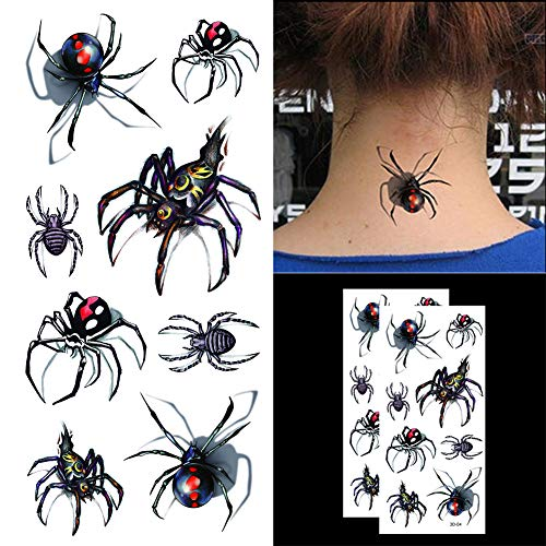 Oottati Halloween Shadow - 3D Assorted Black Widow Spider Temporary Tattoo (2 -