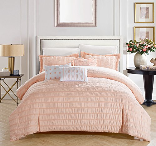 Chic Home Hadassah 6 Piece Comforter Set Striped Ruched Ruffled Bedding - Decorative Pillows Shams Included, Queen, Coral ()