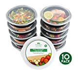 [10 pack] Round BPA Free Meal Prep Containers. Reusable Plastic Food Containers with Lids. Stackable, Microwavable, Freezer & Dishwasher Safe Bento Lunch Box Set + EBook [680 mL]