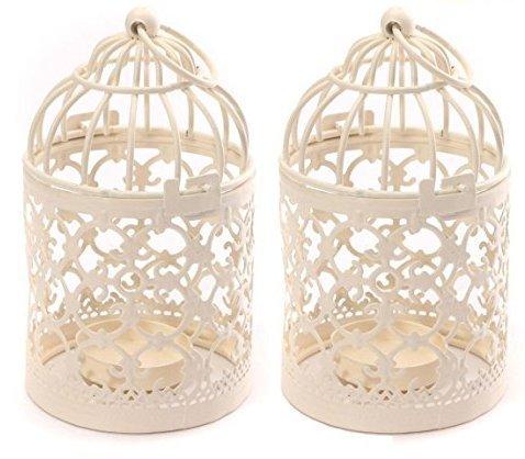 BIGBOBA - 2 portavelas de metal para decoración creativa de boda o hogar, 8 x 14 cm, color blanco