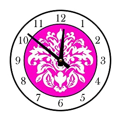 Elegant Damask Wall Clock, White and Hot Pink