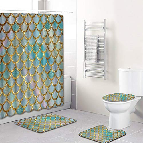 Beyonds Bathroom Mat Sets 4 Piece, Fish Scales Carpet Doormats Decor Shower Curtain and Rugs Bath Mat for tub Kids Floor, Non-Slip Fish Dolphin sea Turtle Ocean Shower Curtain Bathroom Mat (Best Price On Tan Towels)