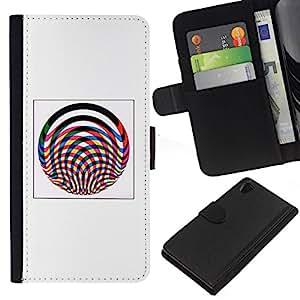 All Phone Most Case / Oferta Especial Cáscara Funda de cuero Monedero Cubierta de proteccion Caso / Wallet Case for Sony Xperia Z2 D6502 // Abstract Lines Poster Pink Grey Wheel