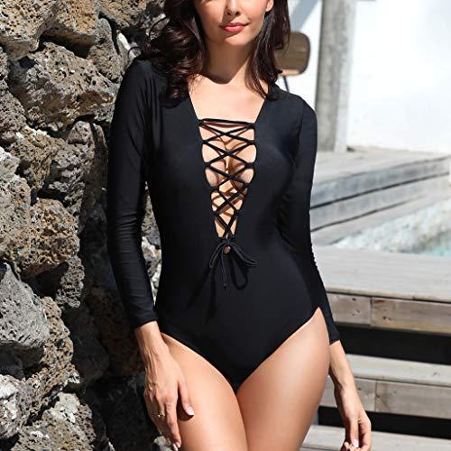 Negro Luckycat Traje Ropa Piezas Playa Bikini Tanga Baño Las Hueco Cubierta 1 Ocio Bajo De Vacaciones Mujeres Corte Cordones Sexy Interior Cabestro Dos Con Piscina Monocromo qwf7rpqxS