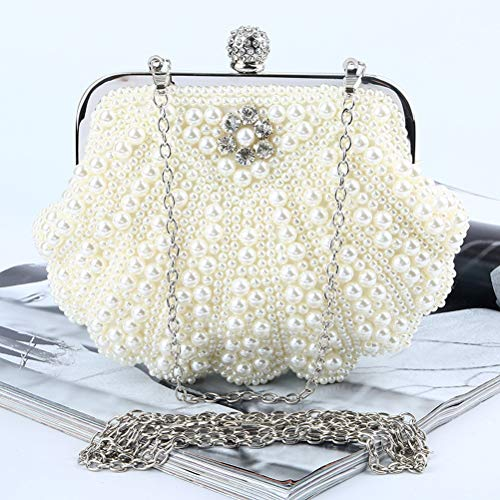 Bags Female Banquet Clutches Evening Wedding Bag Beige Party Handbag Pearl BESTOYARD x74qRHwzx