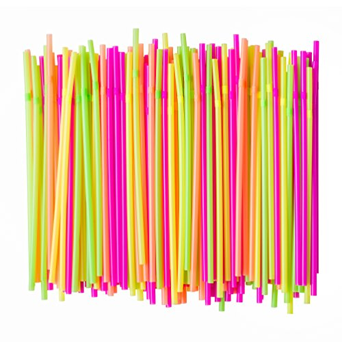 Price comparison product image Eskay, X-Long Flexible Neon Plastic Straws, Food-Safe BPA-Free Plastic, Jumbo Pack 300 Straws, 9.5 Inches, Over 10 Inches Stretched