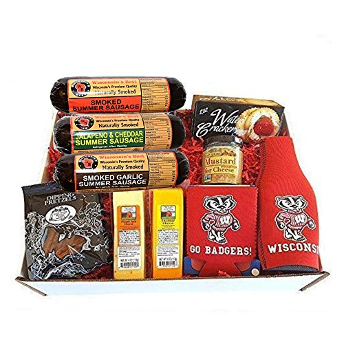 Badgers Deluxe Tailgating Gift Basket - features Smoked Summer Sausages, 100% Wisconsin Cheeses, Crackers, Pretzels & -