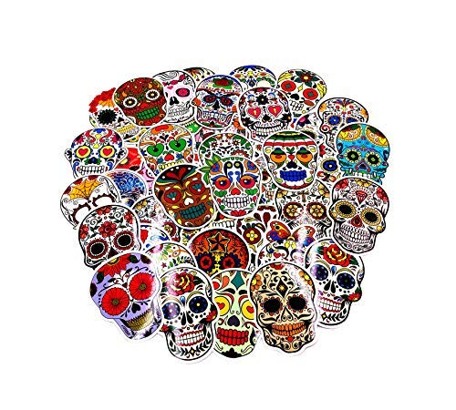 Sugar Skull Stickers Calavera Decal Pack 50pcs for Laptop Computer Sticker Skateboard Water Bottle Luggage Dia de Los Muertos Mexican Day of The Dead Sticker Bomb Vinyl Decal Pack - Artsybb]()
