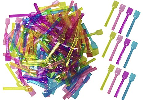 Outside the Box Papers Pink, Blue , Hot Pink and Green Mini Gelato Taster Spoons Clear Plastic - 200 per Package