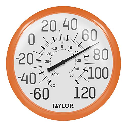 Taylor Precision Products Big and Bold Dial Thermometer (13.25-Inch, Orange) (Round Thermometer Outdoor)