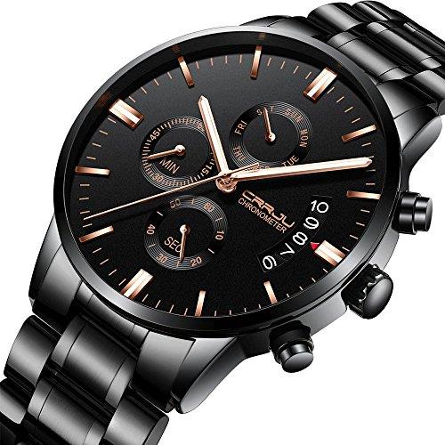 JiaMeng Reloj Analógico Automático para Hombre de Acero Inoxidable Impermeable Seis Agujas Reloj Tiempo Multifunción Reloj Fecha (A): Amazon.es: Ropa y ...