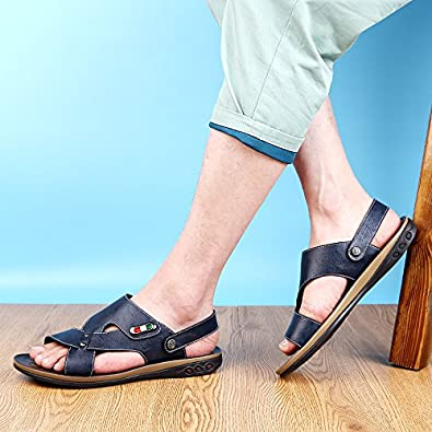 Abby QZYYU-605 Mens Trendy Open Toe Lightweight Comfy Athletic Fishing Flat Walking Outdoor Breathable Anti-Friction Summer Daily Classic Beach Slide Sandals Adjustable Strap