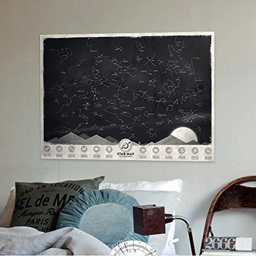 Constellation Chart (Queenfashion Star Map Glow in the Darkness Night Sky Constellations Zodiac Chart Poster Gift)