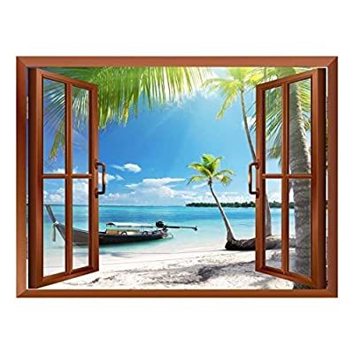 Classic Design, Pretty Portrait, Boat on The Oceanside Removable Wall Sticker Wall Mural