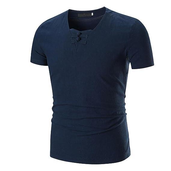 FAMILIZO Camisetas Manga Corta Hombre Moda Camisetas Hombre Lino Camisetas Hombre Verano Blusa Hombre Manga Corta