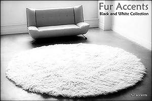 Fur Accents Classic Round Sheepskin Area Rug Off White Faux Fur 10u0027 Diameter