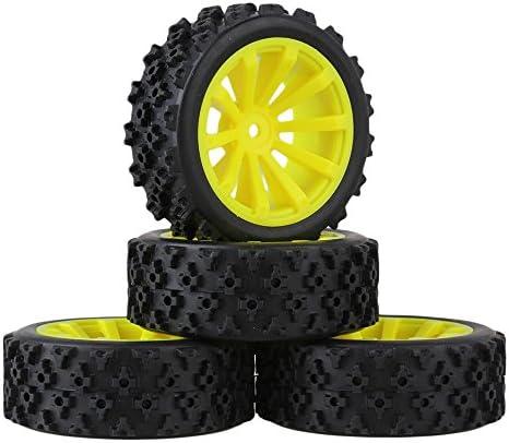 MxfansブラックフラワーパターンRubber Tyres +イエロー10-spokeプラスチックホイールリムfor RC 1