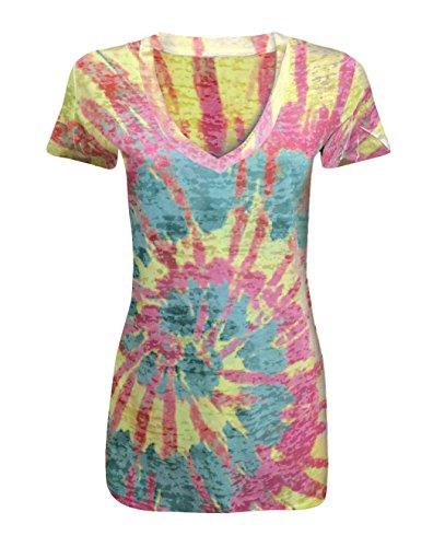Sublimation Top V-neck - Tough Cookie's Women's Rainbow Tie Dye Sublimation Burnout V-Neck Top (X-Large, Pink/Yellow/Green)