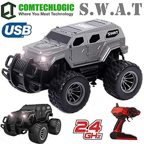 Comtechlogic CM-2220 2.4Ghz 1:12 Escala USB Eléctrico Us Swat Armado Combate Off-Road Cross Country RC Radiocontrol Remoto SUV Camión EP RTR - Plateado: ...