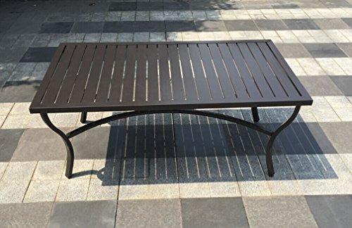 Aluminum Slat Top Patio Coffee Table - Bronze (Slat Table Aluminum)