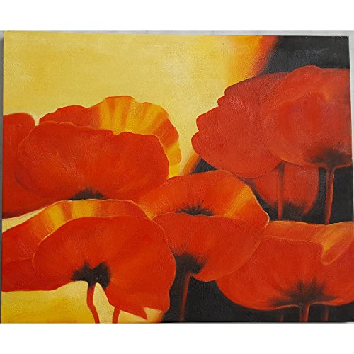 Hand Painted Wall Mural - Oil Painting on Canvas - 100% Hand painted Modern Abstract Flowers , Framed for Living Room Bedroom Entrance Mural Wall Decoration (20'' x 24'', Framed) (F01)