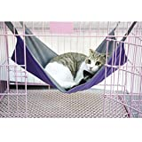 FakeFace 2 in 1 Summer&Winter Reversible Pet Cat Cage Hammock Rabbit Kitten Hanging Bed Cat Crib Cradle Radiator Comforter Basket Cushion Mat, Waterproof Oxford Fabric, Flannel, Support Weight up to 15kgReversible design---The pet Hommock has two...