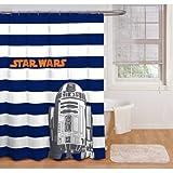 Boy Blue White Stripe Star Wars Peva Shower Curtain