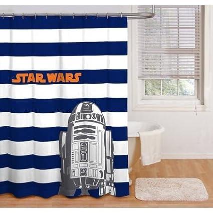 Amazon.com: Boy Blue White Stripe Star Wars Peva Shower Curtain ...
