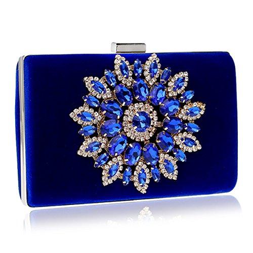 Monedero De Embrague De Cristal De Diamantes De Imitación De Las Mujeres,Bolso De Fiesta Para La Boda Nupcial Fiesta De Baile De Fin De Semana Bolsa Azul