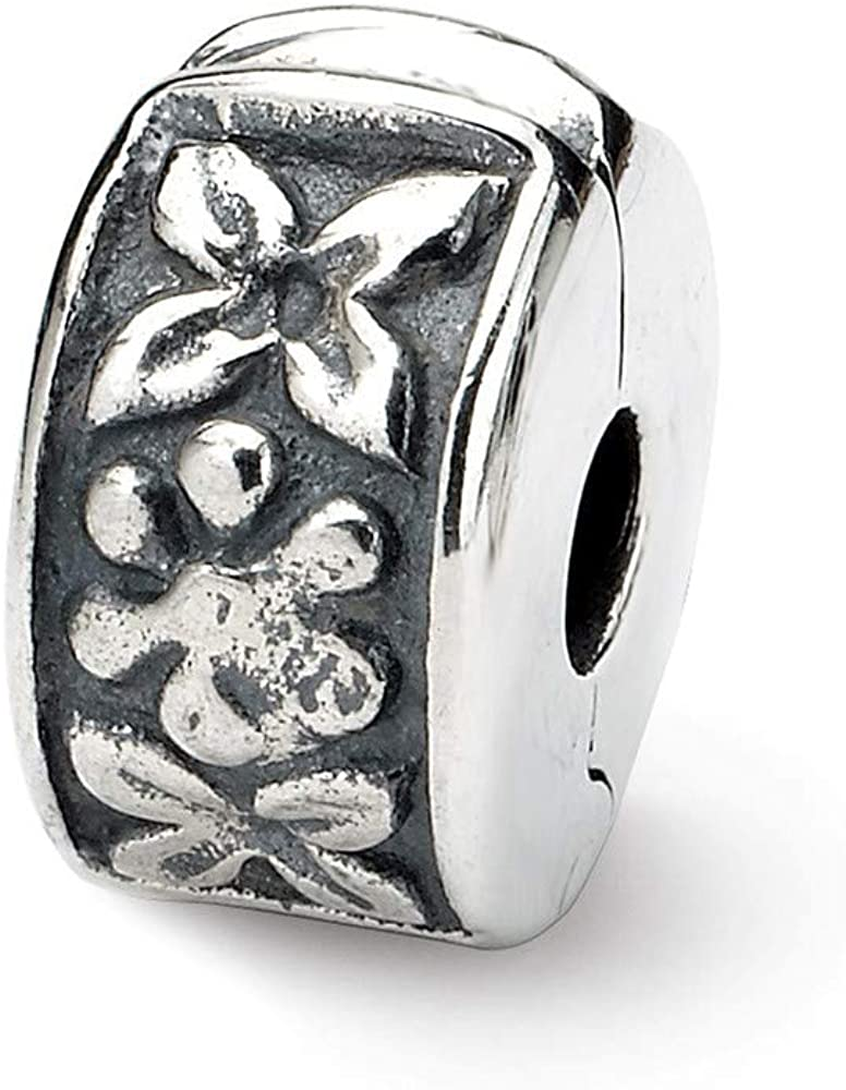 Roy Rose Jewelry Sterling Silver Reflection Beads Hinged Floral Clip Bead